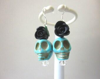Sugar Skull Earrings Blue Black Rose Flower