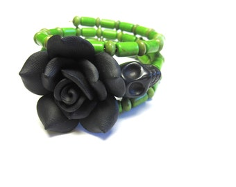 Day Of The Dead Bracelet Sugar Skull Cuff Wrap Green Black Rose