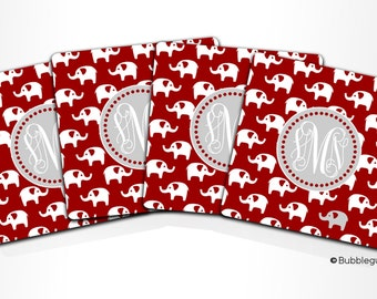 Custom PERSONALIZED Monogram COASTERS - Set of 4 - Elephants Burgandy grey - any color name initials