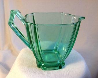 Art Deco Green Glass Creamer