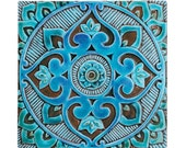 Mandala wall hanging made from ceramic - exterior wall art - mandala art - mandala wall hanging - handmade tile - mandala3 - turquoise