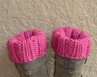 Boot Cuffs, Boot Toppers, Ankle Warmers pink rose hand knit. Close the gap at the top of your boots.