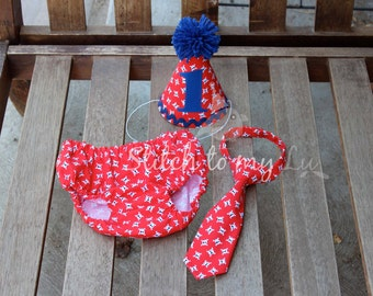 First Birthday Cake Smash Set Pirate Skull and Crossbones Nautical Red White Blue Diaper Cover Tie Hat 1st Birthday Outfit Baby Boy