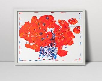 "Poppies Original Serigraph Hand Printed Screen Print Art 28"" x 20"" bouquet vase s fine art hand pulled made silkscreen printing screenprint"