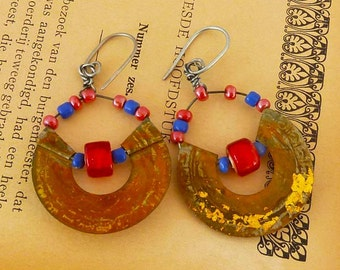 Bottle cap earrings, Recycled tin with red and blue beads and gold foil