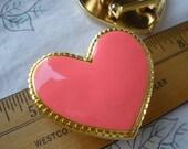 "Heart Buckle 2"" Pink Enamel in Gold Stretch belt style metal designer retro costume bulk discount"