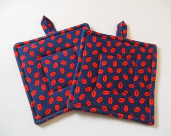 Potholders, Set Of Two Quilted Potholders, Pr Of Kiss the Kook Potholders