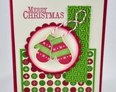 Christmas Greeting Card, Green, Red, Ivory, Snowflakes, Mittens, Gloves, Tis the Season, Merry Christmas, Xmas, Stamped, Blank Inside