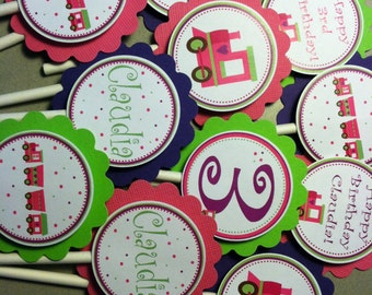 Train Girl Cupcake Toppers