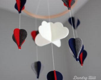100% Merino Wool Felt Baby Mobile - Eco-Friendly - Rich, Lightfast Colors - Heirloom Quality - Navy, Red and Gray Hot Air Balloons