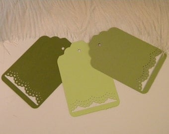 Green Woodland Party Gift Tags / 100 Lace Cut Place cards or Tags / Large Hang Price tag / Woodland Baby Shower / Blank Tags