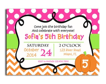 Halloween Pumpkin Invitation Printable or Printed with FREE SHIPPING - Halloween Party, Birthday, Fall Event - Pink Pumpkin Collection