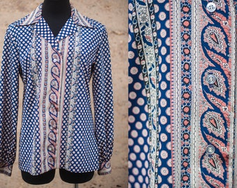 Silky Paisley Print Blue and Orange Button Up Blouse
