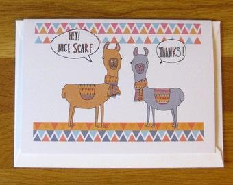 llama or alpaca blank greetings card, anniversary, birthday, valentines, any occasion