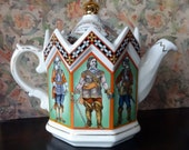 Crowned Musketeers, The Civil War, King and Parliament 1642 Teapot, Windsor England, Vintage Commemorative Octagon Collectible