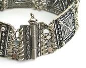 Sterling Silver Filigree Ethnic Bracelet Tube Bar Clasp - ID252
