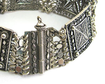 Sterling Silver Filigree Ethnic Bracelet Tube Bar Clasp - ID252