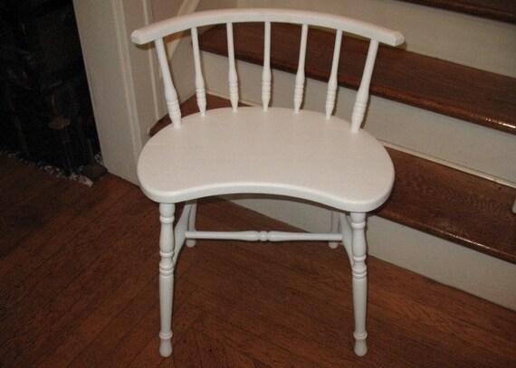 Vintage Kidney Shaped Wood Vanity Stool Chair Spindle Back