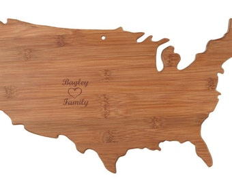 Engraved USA Cutting Board USA - United States Shaped Cutting Board, Bamboo, Custom Engraved - Wedding Gift, Couples Gift, Anniversary Gift