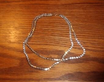 vintage necklace double strand rhinestones