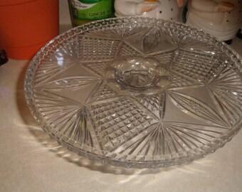 vintage pressed glass pedestal cake plate stand