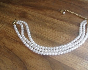vintage necklace choker triple strand faux pearls