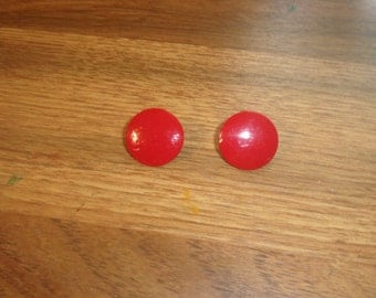 vintage clip on earrings red metal circles