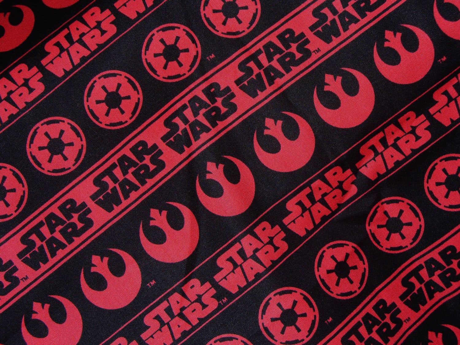 Star wars fabric star wars logos emblems red and black for Star wars fabric
