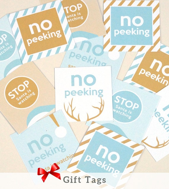 INSTANT DOWNLOAD Christmas Gift Tags. Blue & Pink