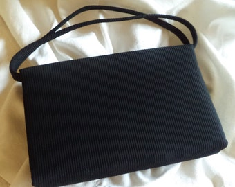 Black Clutch Vintage Clutch By Sydney Ribbed Silk-Like Fabric with Satin Lining