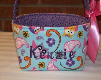 Fabric Easter Basket – Pink Purple & Yellow Girly Owls on Turquoise  - Personalization Included - Great Storage Bin