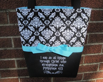 Black and White Damask Print Embroidered Bible Verse Scripture Bag, Philippians 4:13, Made-To-Order, You Choose Inside Fabric Color