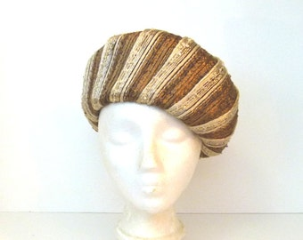 1960s Hat Brown and Cream Hat  Raffia Hat with Pom Pom Vintage 60s Hat Brown Raffia Hat Striped Hat Brown and Beige Hat Beret Hat