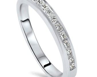 Princess Cut .40CT Diamond Wedding Anniversary 14K White Gold Engagement Promise Ring Size (4-9)