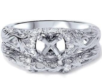 Diamond .21CT Vintage Engagement Mount Set 950 Platinum