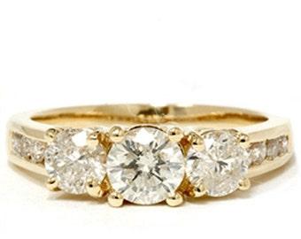Diamond 2.00CT Three Stone Ring 14K Yellow Gold
