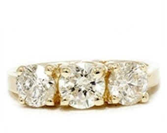 Diamond 1.40CT Gold Three Stone Ring 14K Yellow Gold