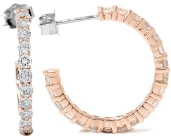 1.50CT Diamond Hoops 14K Rose Gold
