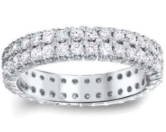 2.00CT Double Row Diamond Eternity Ring 14K White Gold Size (4-9)