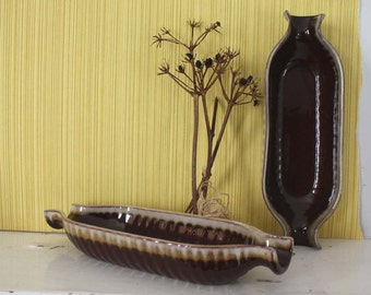 Pair of vintage Corn on the Cob Dishes. Earth Tones, Brown, Cream.