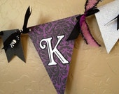 Glittered Spooky Halloween Pennant Banner Party Decoration Black Purple White