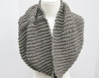 Wool long cowl charcoal grey hand knit