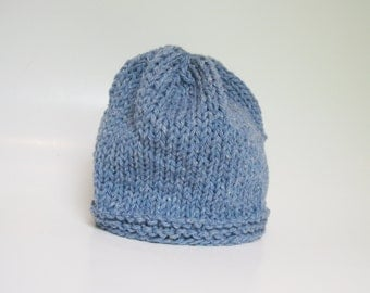 Knit baby beanie hat denim blue cotton