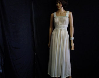 1920's XS Silk & Lace Handmade Nightgown Lingerie Bone White