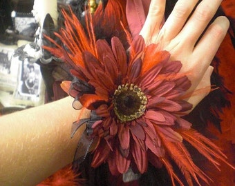 Burgandy Red Black Wrist Corsage