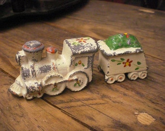 Cast Metal Train Salt And Pepper Shakers