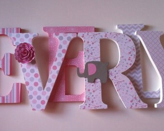 """Nursery wooden wall letters in pink and gray spelling out your   child's name 8 """" wall letters initial monogram"""
