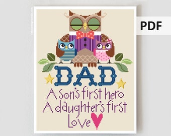 PDF cross stitch patterns : Owl Dad Brooke's Books Father's Day grandfather grandpa digital hand embroidery instant download