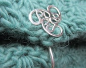 Handmade Sterling Trillium Cable Needle/Latch for Sweaters, Shawls, Cowls