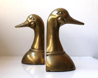 SALE Mid Century Brass Duck Bookends Sculpture Paperweights